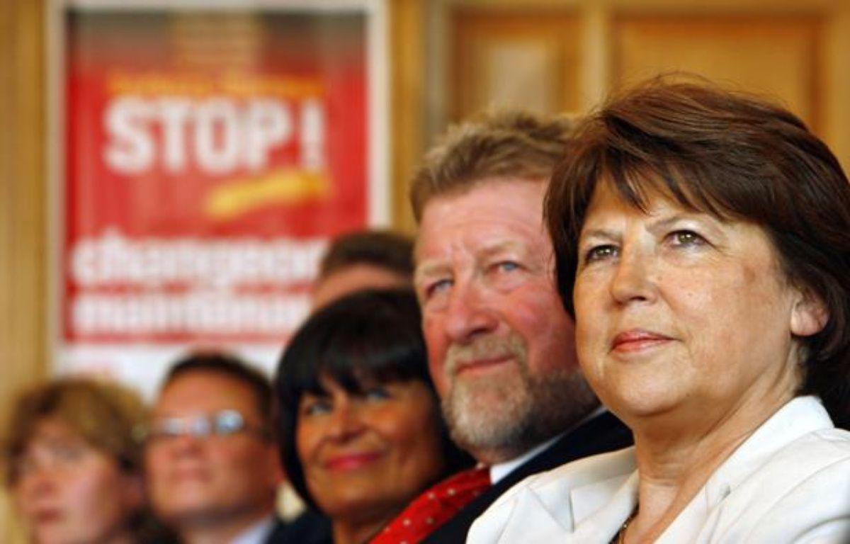 La Première secrétaire du Parti socialiste, Martine Aubry, en compagnie de Jean-Pierre Kucheida (à sa droite). – M.LIBERT / 20 MINUTES