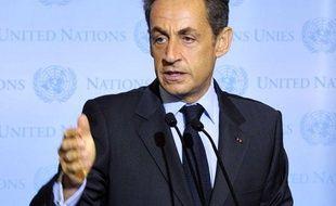 Le président français Nicolas Sarkozy aux Nations unies, le 20 septembre 2011 à New York, aux Etats-Unis.