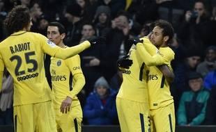 La joie parisienne après le but vainqueur de Neymar à Toulouse, le 10 février 2018.