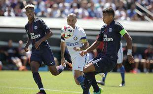 Thiago Silva et Kimpembe lors du match contre l'Inter à l'été 2017.