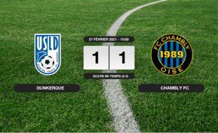 Ligue 2, 27ème journée: Match nul entre l'USL Dunkerque et le FC Chambly (1-1)