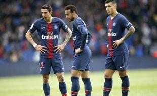 Neymar, Paredes et Di Maria lors de PSG-Nice, le 4 mai 2019 au Parc des Princes.