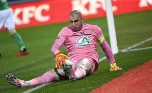 Stéphane Ruffier, ici lors du quart de finale de Coupe de France remporté à Nancy contre Epinal (1-2).