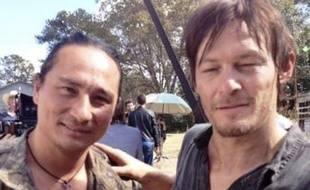 Dango Nguyen et Norman Reedus sur le tournage de «The Walking Dead»