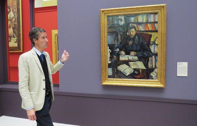 Cyrille Sciama, conservateur au musée d'arts de Nantes, devant «Portrait de Gustave Geffroy» par Paul Cézanne.