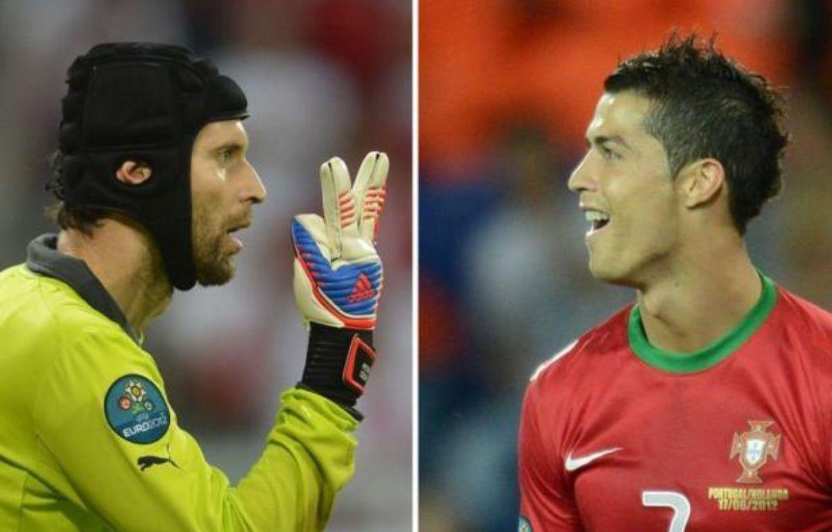 Deux des grandes stars de la saison, le gardien de la République Tchèque Petr Cech et le buteur réveillé du Portugal Cristiano Ronaldo, deux bourreaux d'entraînement, s'affrontent en quart de finale de l'Euro-2012, jeudi à Varsovie. –  afp.com