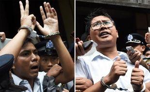 Les deux journalistes de Reuters Kyaw Soe Oo (à g.) and Wa Lone, le 3 septembre 2018.