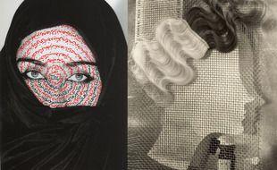 A gauche: « I am its secret (Je suis son secret)», 1993, de Shirin Neshat. A droite: « Komol, publicité pour une teinture capillaire», 1932, d'Ellen Auerbach.