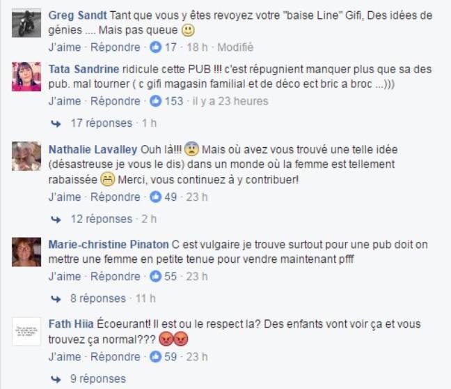 Commentaires sur la page Facebook de GiFi.