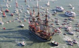 In this photo dated, Sunday, Sept. 7, 2014, the three masts of the 213 feet long frigate Hermione whose hull is made entirely of oak sails on its first test on the sea toward the Ile d'Aix, southwest France. Since 1997, a passionate team rebuilt the frigate Hermione, which, in 1780, allowed La Fayette to cross the Atlantic to America and join the American rebels in their struggle for independence. The Hermione Lafayette Trip project is aimed to cross the Atlantic in 2015. (AP Photo/David Compain, City of Rochefort)/PAR503/190408267394/PHOTO DATED SUNDAY, SEPT. 7, 2014. AP PROVIDE ACCESS TO THIS PUBLICY DISTRIBUTED HAND OUT PHOTO PROVIDED BY THE CITY OF ROCHEFORT/1409091047