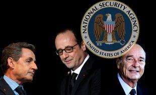 Photomontage de Nicolas Sarkozy, François Hollande et Jacques Chirac, mis sur écoute par la NSA, selon des documents de WikiLeaks.