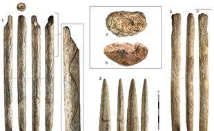 Exemples d'objets fabriqués en os de baleine retrouvés dans les collections archéologiques du nord de l'Espagne. 1 : El Pendo (Cantabrie), 2 : Ermittia (Guipuscoa), 3 : Tito Bustillo (Asturies), a et b: zoom sur la matière.