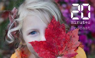 Illustration d'une fillette cachant son visage avec une feuille d'érable