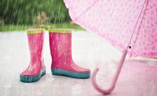 Illustration de bottes et parapluie.