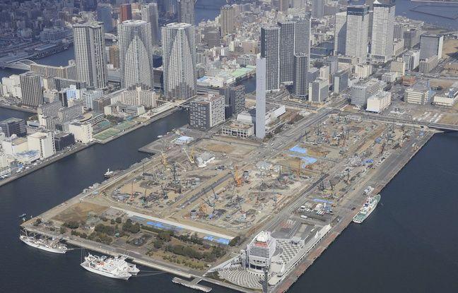 Le village des athlètes des JO 2020 en construction à Tokyo.
