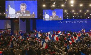 Villepinte, le 11 mars 2012. Dans le dossier Bygmalion, Nicolas Sarkozy est accusé d'avoir dépensé le plafond de dépenses autorisé par la loi pour une campagne présidentielle en raison de meetings dispendieux.