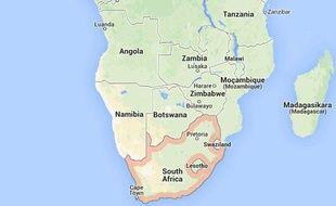 Géolocalisation sur Google Maps de l'Afrique du Sud.