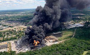 L'usine Lubrizol à Rockton (Illinois) qui rappelle les images de Rouen en 2019.