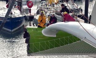 Thomas Coville est rentré au port de Roscoff (Finistère) lundi 3 novembre 2014, après avoir heurté un cargo au premier jour de la Route du Rhum.
