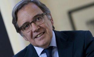 Le PDG de la chaîne française TF1, Nonce Paolini, lors de la présentation à Paris de la chaîne de télé-achat ha26, en partenariat avec M6, le 10 septembre 2015 à Paris