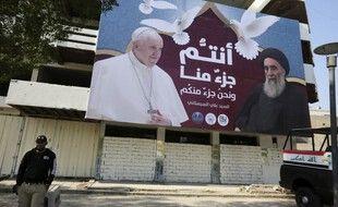 Une affiche géante pour la venue du pape, à Bagdad. (archives)
