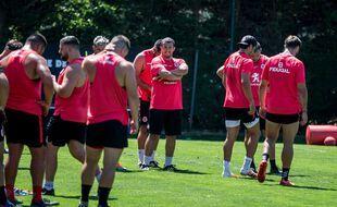 Les joueurs du Stade Toulousain à l'entraînement, en juillet 2020.