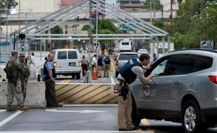 Un check-point sécurité à Tampa, en Floride, lors de la Convention républicaine, le 26 août 2012.