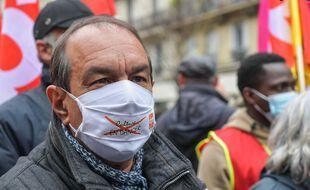 Philippe Martinez, secrétaire général CGT, à Paris lors du défilé du 1er mai.