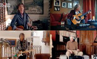 """Les Rolling Stones lors du concert confiné """"One World: Together at Home"""" organisé par Lady Gaga et l'OMS."""