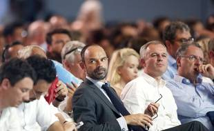 Edouard Philippe (au centre) Premier ministre, lors de la convention du parti La Republique En Marche (LREM) le 8 juillet 2017 à Paris