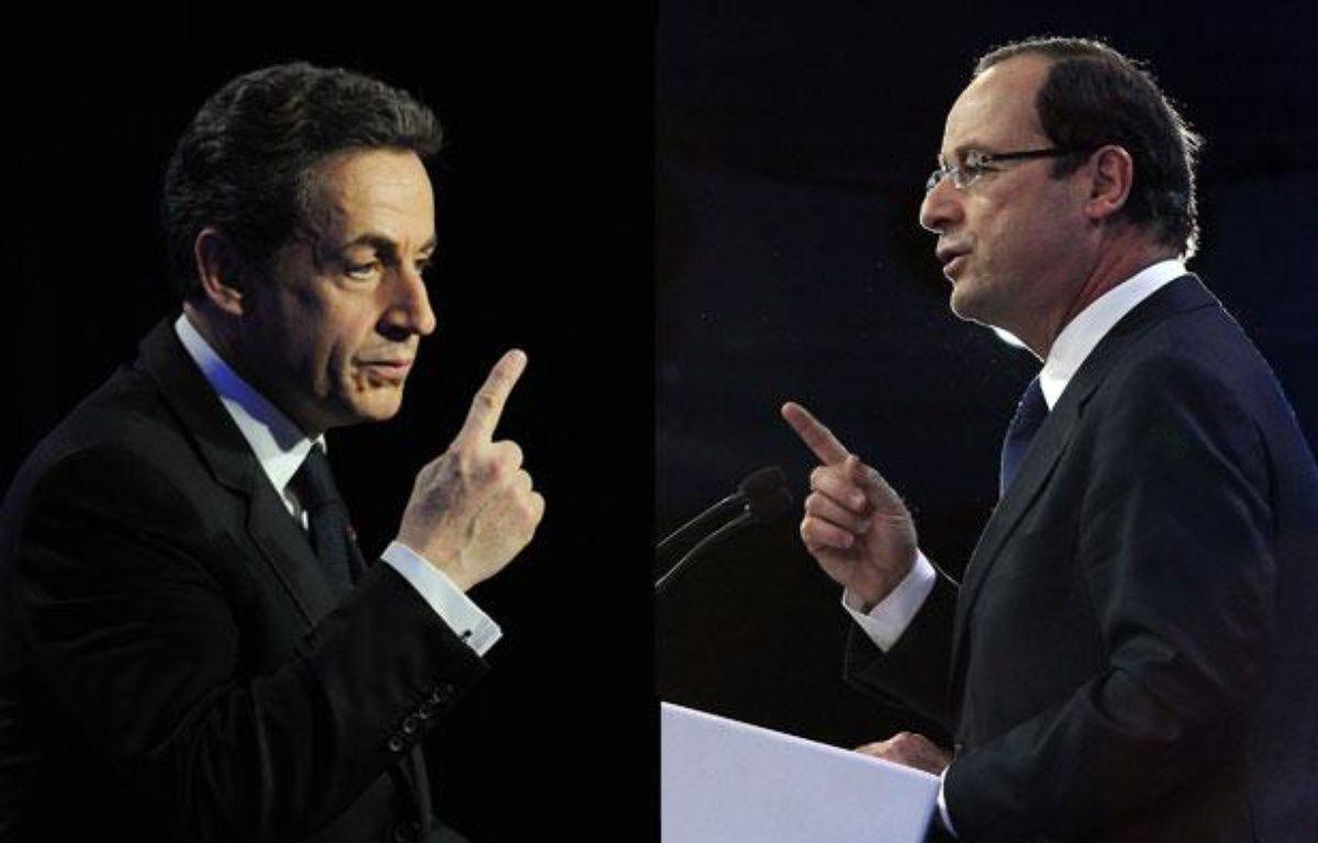 Nicolas Sarkozy etFrançois Hollande, montage photo. – SIPA