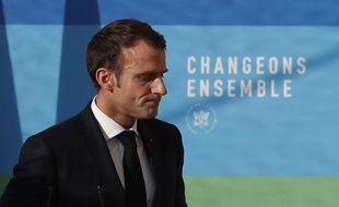 Emmanuel Macron, conférence de presse à l'Elysée le 27 novembre 2018 sur la transition écologique, durant laquelle il a évoqué les
