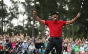 Tiger Woods lors de sa victoire au Masters d'Augusta, le 14 avril 2019.