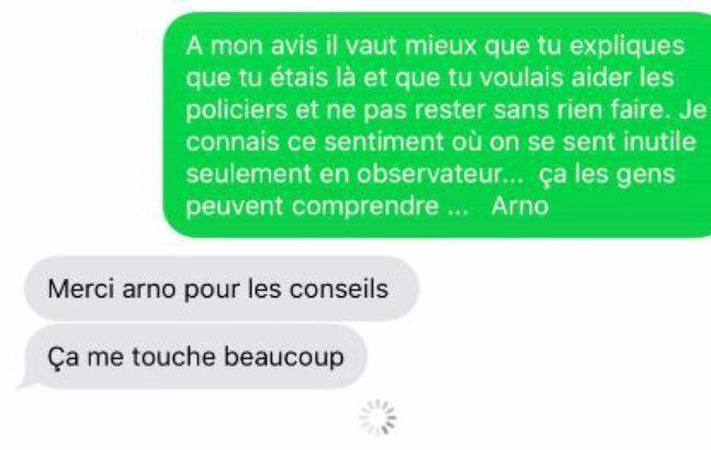 SMS envoyé par Arno Klarsfeld à Alexandre Benalla.
