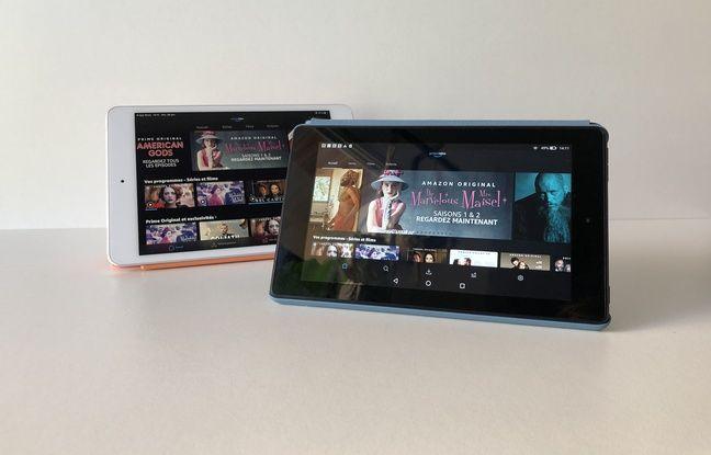 La Fire 7 face à l'iPad Mini en mode Prime Vidéo.