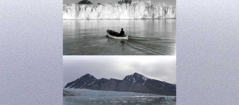 Ces deux images, prises en 1918 et 2002, montrent le recul du glacier Blomstrandbreen, situé à l'est du Groenland.