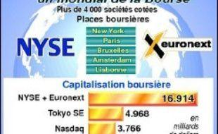 Nyse Euronext sera fort d'une capitalisation boursière de 20 milliards de dollars (15 milliards d'euros) et la valeur de l'ensemble des entreprises qui y seront cotées atteindra 27.000 milliards de dollars (21.000 milliards d'euros), indiquent les deux sociétés dans un communiqué commun.