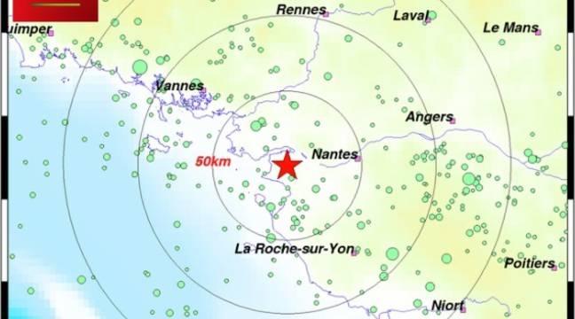 Loire-Atlantique: Un tremblement de terre de magnitude 3,1 ressenti mardi soir