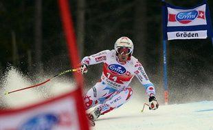 Adrien Théaux termine à la troisième place duSuper-G de Val-Gardena, en Italie, le 20 novembre 2013.