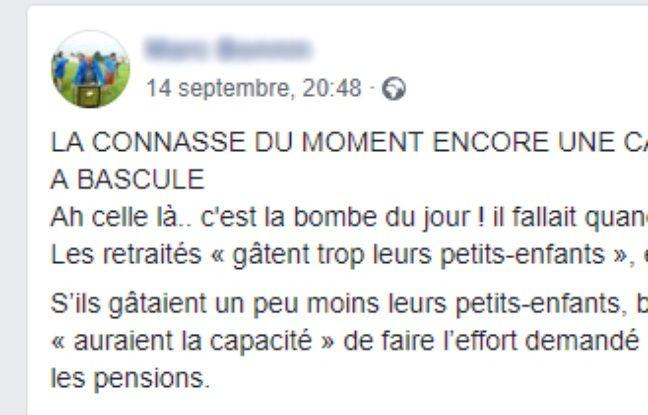 Extrait du post Facebook du 14 septembre fustigeant les propos soi-disant tenus par Aurore Bergé.