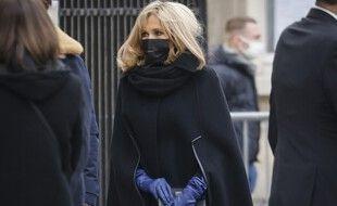 Brigitte Macron aux obsèques d'Olivier Royant, le 8 janvier 2021, à Paris.