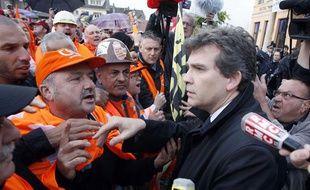 Arnaud Montebourg sur le site d'ArcelorMittal àFlorange, le 27 septembre 2012.