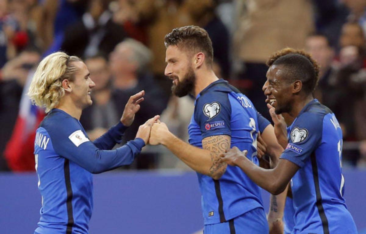 Giroud et Griezmann ont porté les les Bleus contre la Biélorussie.  – Michel Euler/AP/SIPA