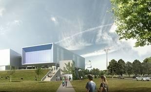 """La station """"Université Paul-Sabatier"""" du futur  téléphérique urbain de Toulouse."""
