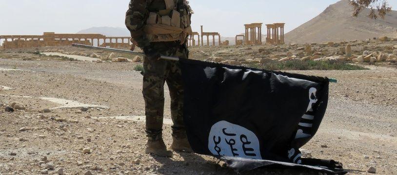 Un soldat de l'armée syrienne tient le drapeau de Daesh devant l'un des sites antiques de la ville de Palmyre, reprise dimanche 27 mars, par les troupes pro-gouvernementales. AFP PHOTO / STR