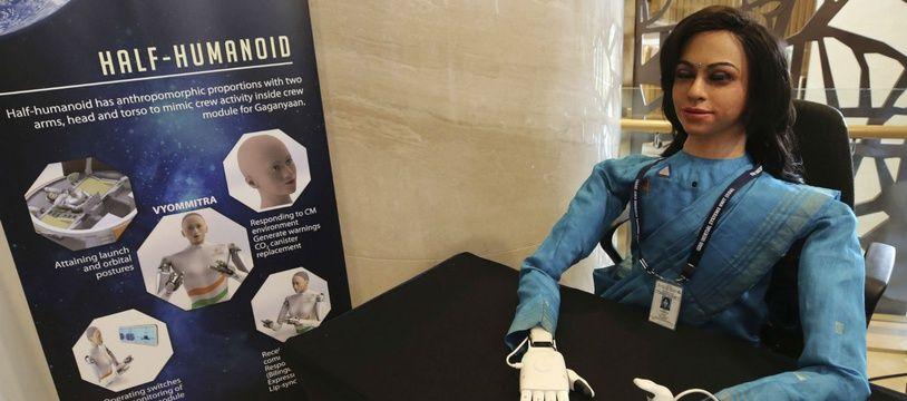 Le robot humanoïde Vyommitra que l'Inde va envoyer dans l'espace en prévision de ses premiers vols habités.