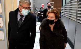 Jacqueline Veyrac et son avocat Luc Febbraro, le 8 janvier 2020 au palais de justice de Nice