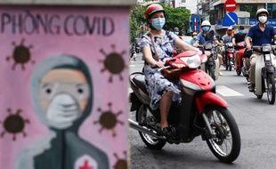 Une femme sur une moto à Hanoï au Vietnam.