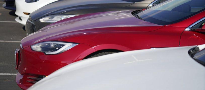 Des voitures Tesla chez un concessionnaire dans le Colorado aux Etats-Unis, le 24 janvier 2021.