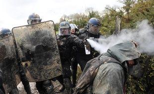 Des gendarmes repoussent sans ménagement un opposant aux expulsions de la ZAD.